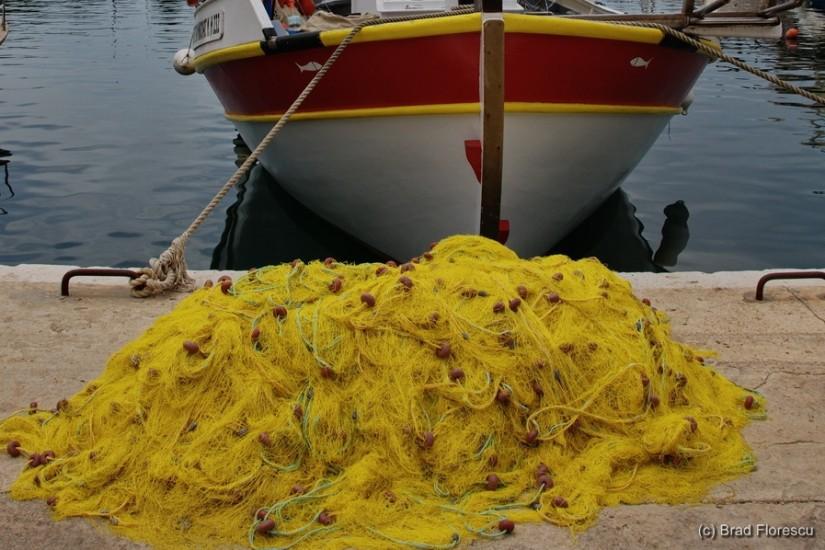 Crete fishing boat and net