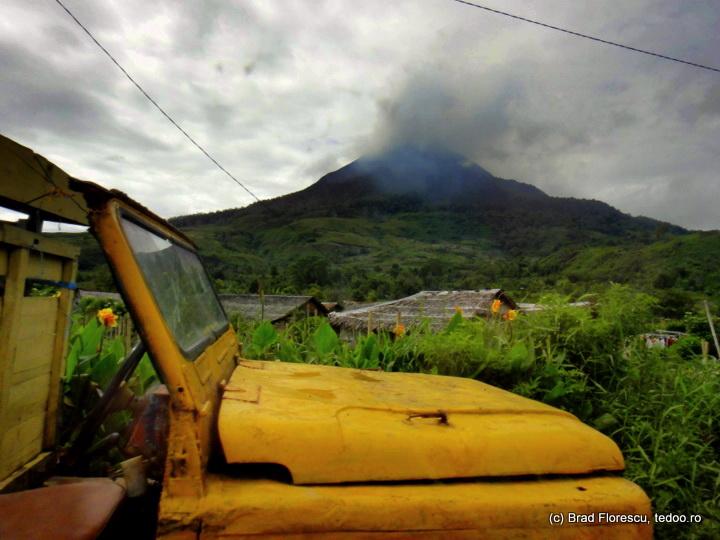 Old Car Sinabung Volcano
