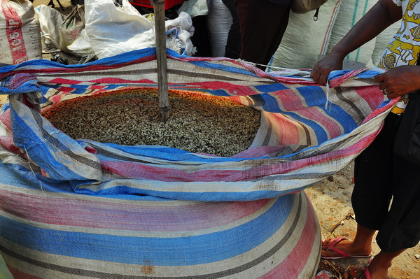 This is how coffee is sold at the market in Pangururan.