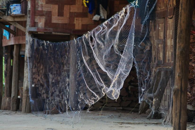 Thailand Mae Hong Son Huay Pu Keng Long Neck Village fishing nets