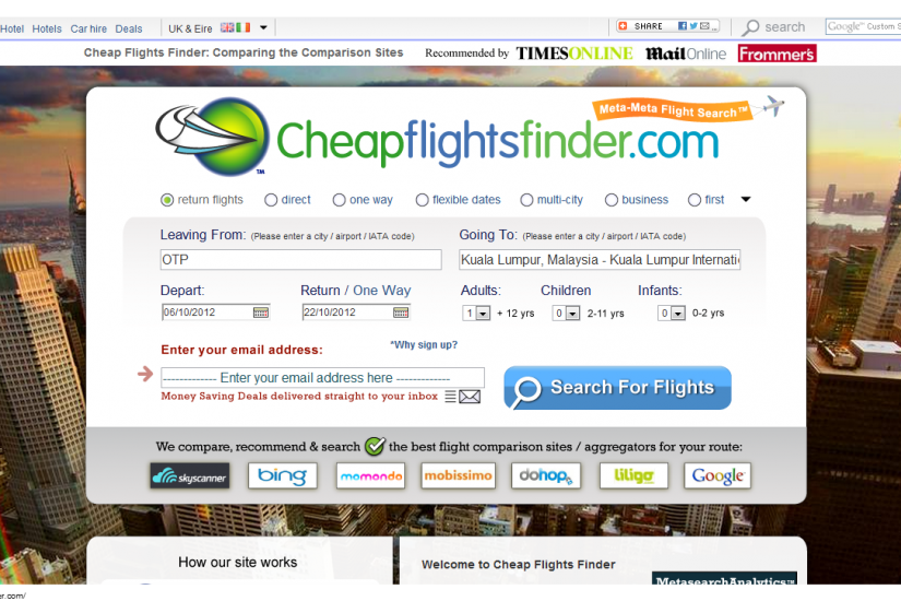 Cheap Flights Fander, motorul de meta-meta-search.