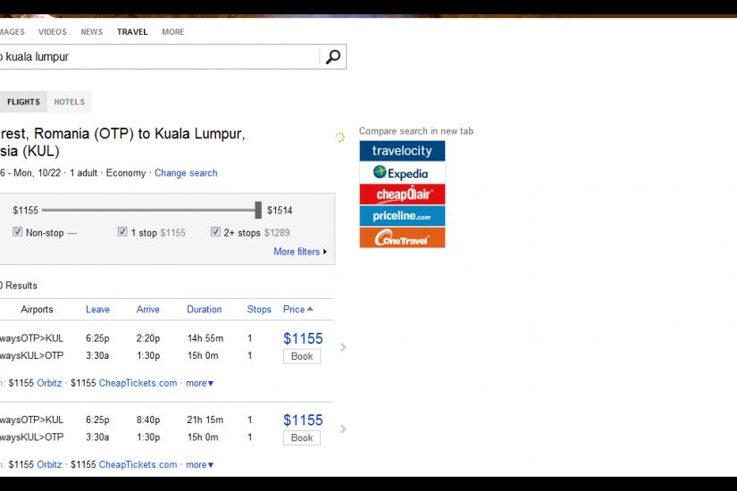 Bing Flights. Pe rutele din SUA are si un predictor de pret.