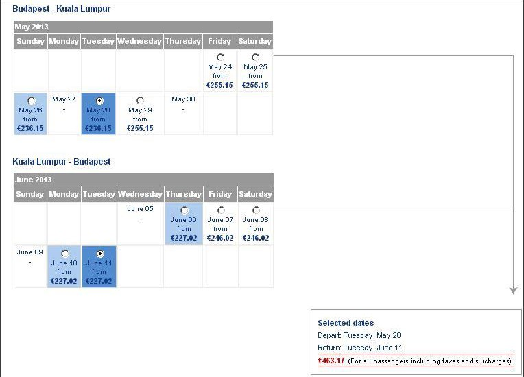 Egyptair Budapesta-Kuala Lumpur