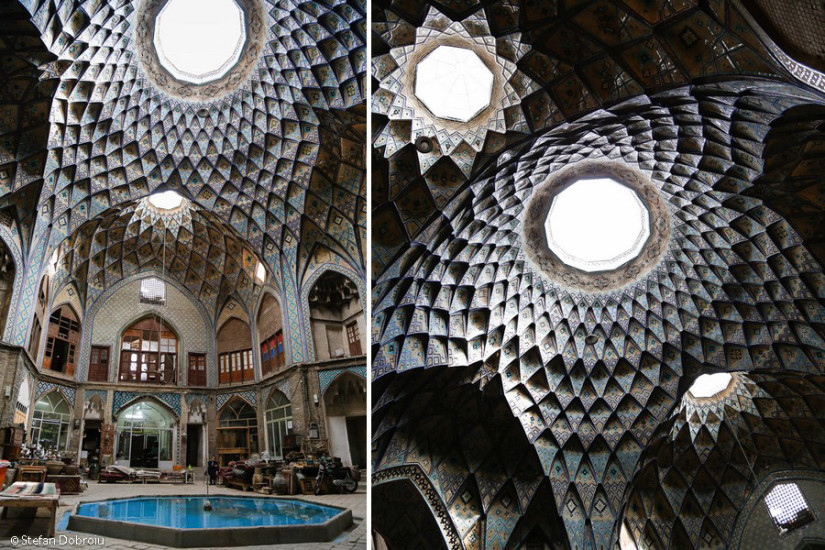 În bazar, uimitorul dom al caravanseraiului Khan Amin al-Dowleh Timche.