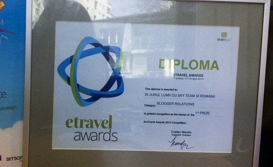 eTravel Awards diploma