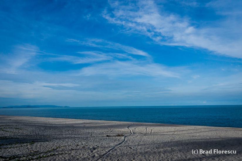 Plaja dă spre Răsărit. După amiaza este umbrită de palmieri.