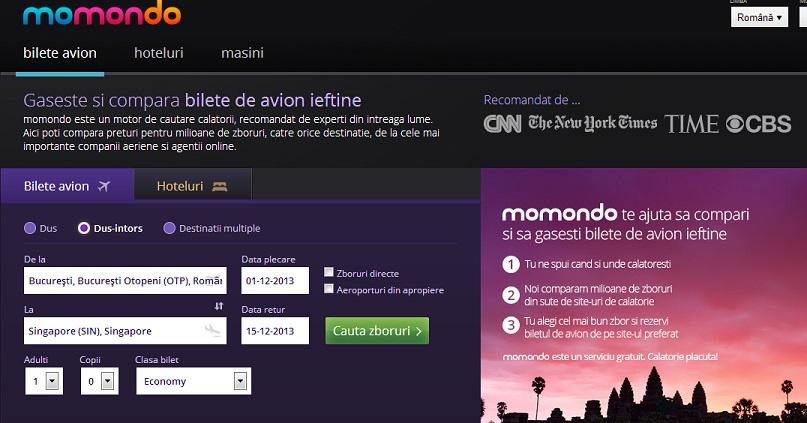 De test. Intrăm pe Momondo.ro și căutăm un zbor de la București la Singapore în decembrie.