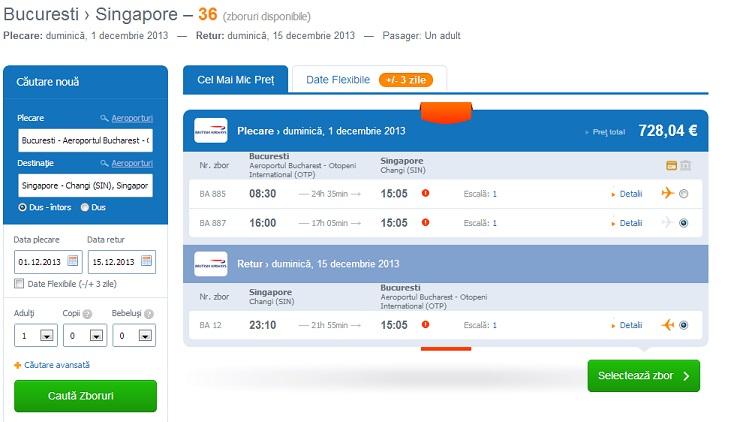 Al doilea OTA, deși a dat un tarif un pic mai mare, îl respectă. 728 EUR și pe Momondo și pe site-ul lor.