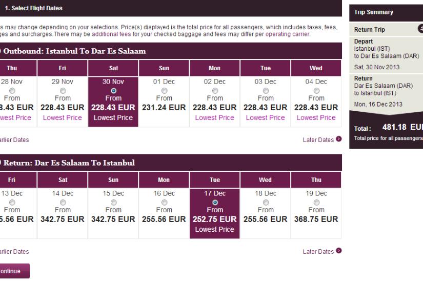Qatar Airways IST-Dar Es Salaam