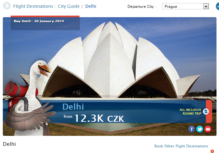 Promo Delhi, preț pe 31 decembrie.