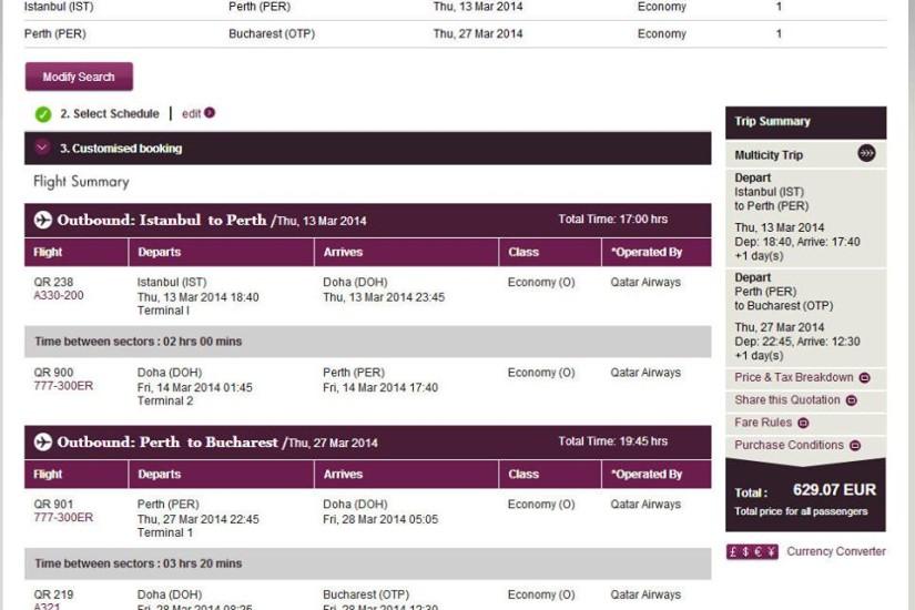 Qatar Airways IST-PER