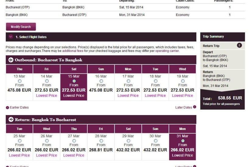 Qatar Airways OTP-BKK