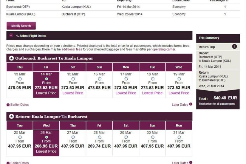 Qatar Airways OTP-KUL