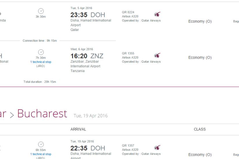 Qatar Airways Bucuresti Zanzibar 641 EUR