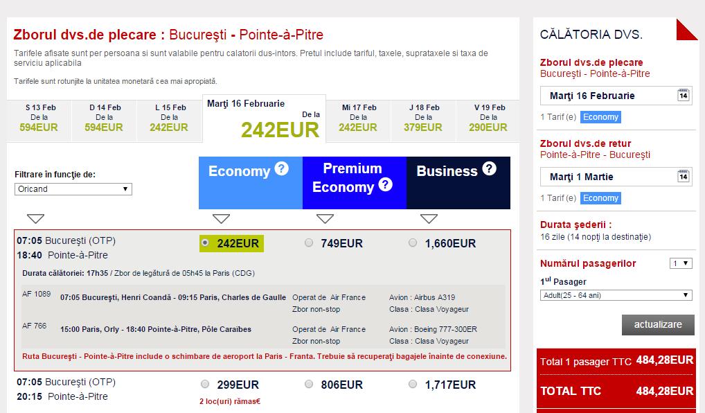 Promotie Bucuresti Guadeloupe 484 EUR